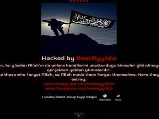 Screen shot of hacked website
